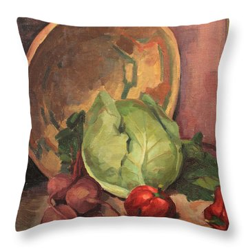 Bowl And Vegetables 1929 Throw Pillow