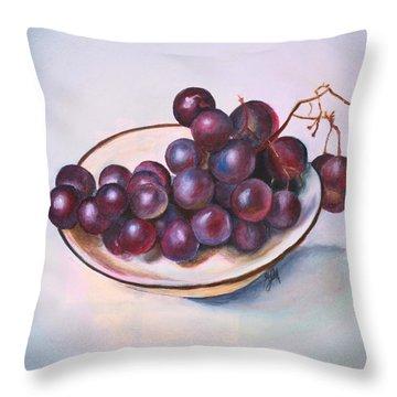 Bowl Of Grapes Throw Pillow