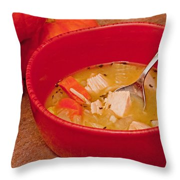 Bowl Of Homemade Chicken Noodle Soup Throw Pillow