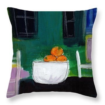 Bowl Of Oranges- Abstract Still Life Painting Throw Pillow