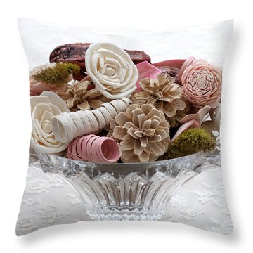 Bowl Of Potpourri On Lace Throw Pillow by Connie Fox