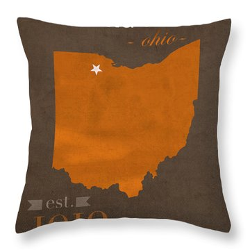 Bowling Green State University Falcons Ohio College Town State Map Poster Series No 021 Throw Pillow by Design Turnpike