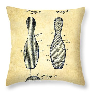 Bowling Pin Patent Drawing From 1939 -vintage Throw Pillow