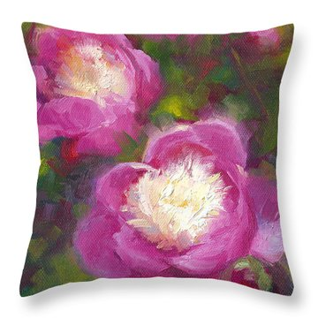 Bowls Of Beauty - Alaskan Peonies Throw Pillow by Talya Johnson