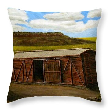 Boxcar On The Plains Throw Pillow by Sheri Keith