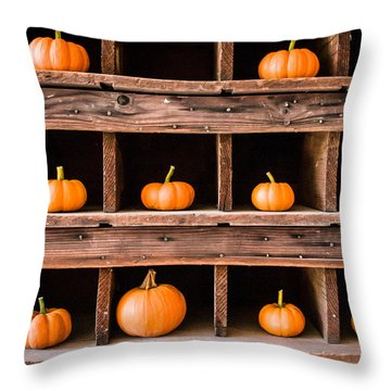 Boxed In Pumpkins Throw Pillow