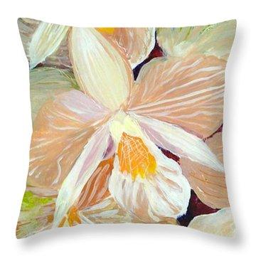 Boxed Orchids Detail Throw Pillow by Anna Skaradzinska