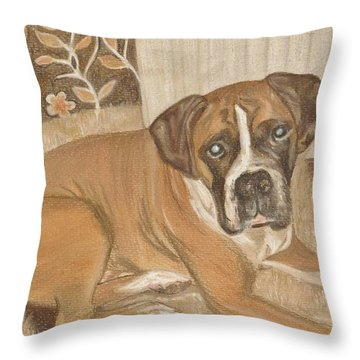Boxer Dog George Throw Pillow by Faye Symons