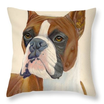 Boxer Dog Throw Pillow by Ruth Seal