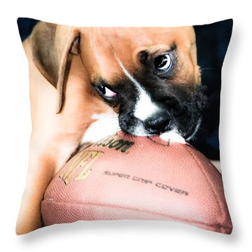 Boxer Puppy Cuteness Throw Pillow by Peggy  Franz
