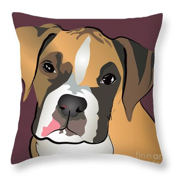 Boxer Puppy Pet Portrait  Throw Pillow by Robyn Saunders