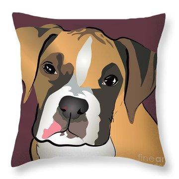 Boxer Puppy Pet Portrait  Throw Pillow