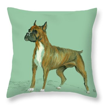 Throw Pillow featuring the pastel Boxer by Terry Frederick