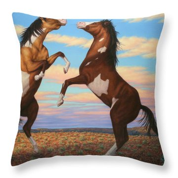 Boxing Horses Throw Pillow