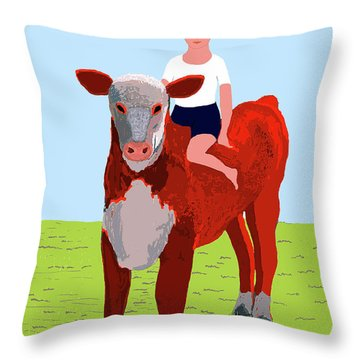Boy And Calf Throw Pillow by Fred Jinkins