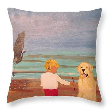 Boy And Dog Throw Pillow