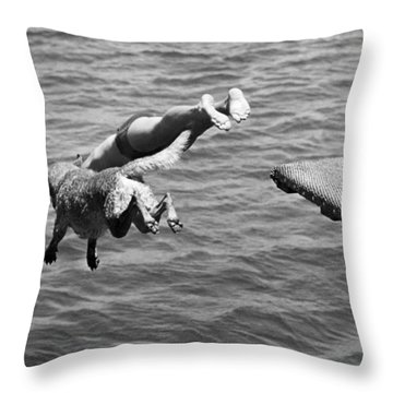 Boy And His Dog Dive Together Throw Pillow