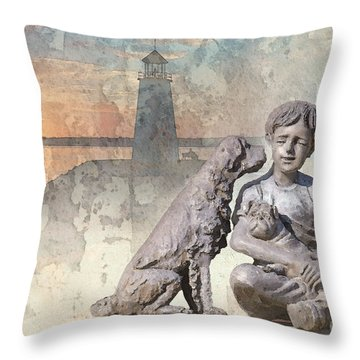 Boy And His Dogs Sculpture Throw Pillow by Betty LaRue