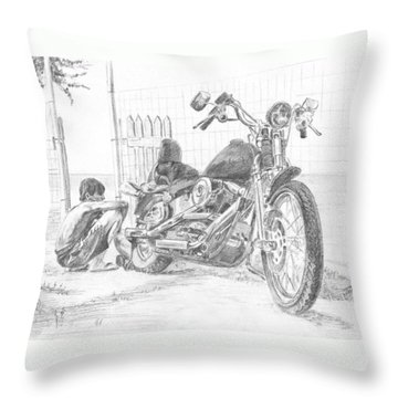 Boy And Motorcycle Throw Pillow