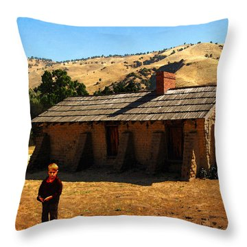 Throw Pillow featuring the photograph Boy At Fort Tejon Adobe by Timothy Bulone
