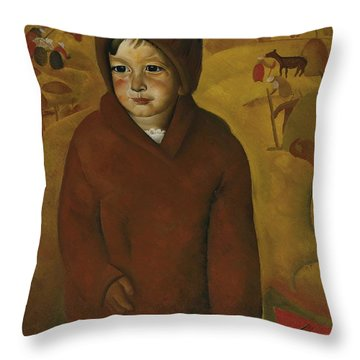 Boy At Harvest Time Throw Pillow