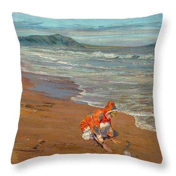Boy At The Seashore Throw Pillow
