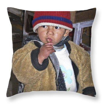 Boy Eating Quail Egg - Cusco Peru Throw Pillow