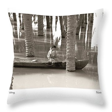 Throw Pillow featuring the photograph Boy Fishing by Tina Manley