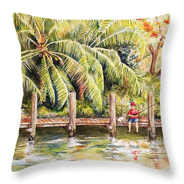 Boy Fishing With Dog Throw Pillow