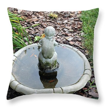 Boy In A Bird Bath Throw Pillow