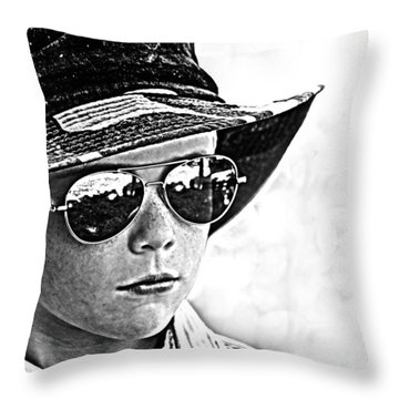 Boy In Aviators Throw Pillow