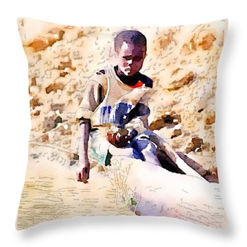 Boy In The Boat Throw Pillow