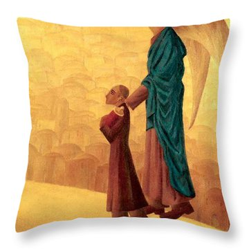 Boy Leading The Blind Angel Throw Pillow