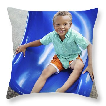 Boy On Slide Throw Pillow by Kicka Witte