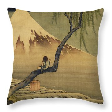 Boy Viewing Mount Fuji Throw Pillow