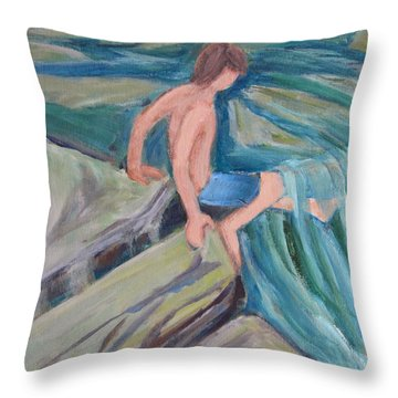 Boy With Foot In Falls Throw Pillow by Betty Pieper