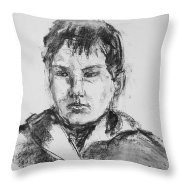 Boy With Hooded Jacket Throw Pillow by Barbara Pommerenke
