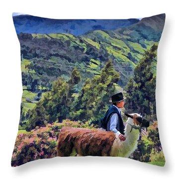 Boy With Llama  Throw Pillow