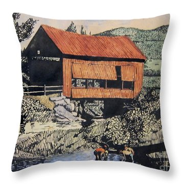 Boys And Covered Bridge Throw Pillow by Joseph Juvenal