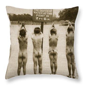 Boys Bathing In The Park Clapham Throw Pillow