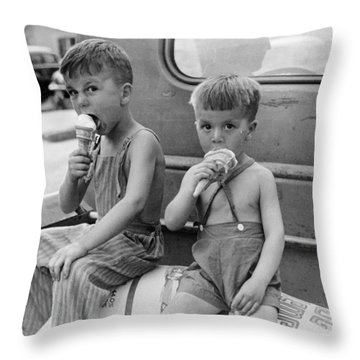 Boys Eating Ice Cream Cones Throw Pillow