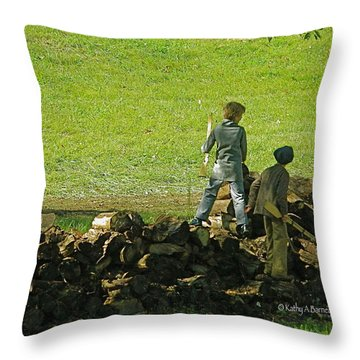 Throw Pillow featuring the photograph Boys Will Be Boys by Kathy Barney