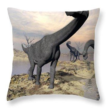 Brachiosaurus Dinosaurs Near Water Throw Pillow by Elena Duvernay