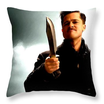 Brad Pitt @ Inglourious Basterds By Tarantino Throw Pillow