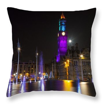 Bradford City Hall At Night Throw Pillow by Mick Flynn