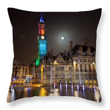 Bradford City Hall In The Evening Throw Pillow by Mick Flynn