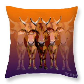 Brahman Cow Throw Pillow
