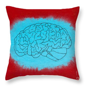 Brain Blue Throw Pillow