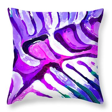 Throw Pillow featuring the digital art Brain Coral Abstract 4 In Purple by ABeautifulSky Photography
