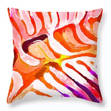 Throw Pillow featuring the digital art Brain Coral Abstract 6 In Orange by ABeautifulSky Photography